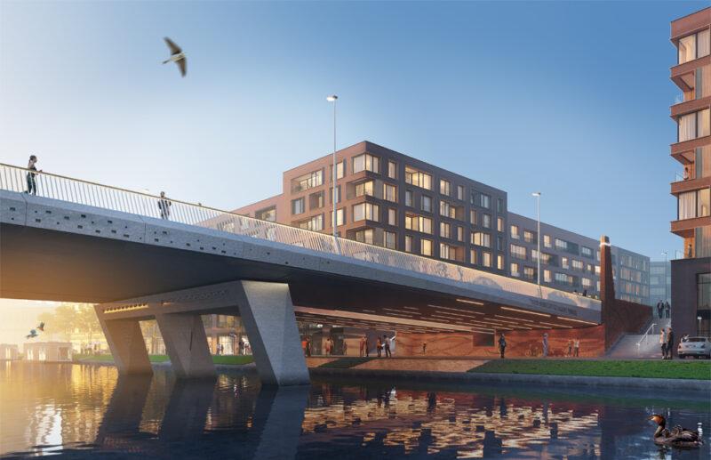 New Bridge over Duivendrechtsevaart Amsterdam